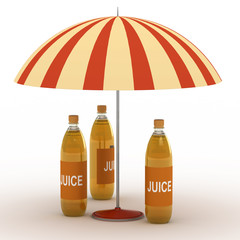 Juice bottles under parasol