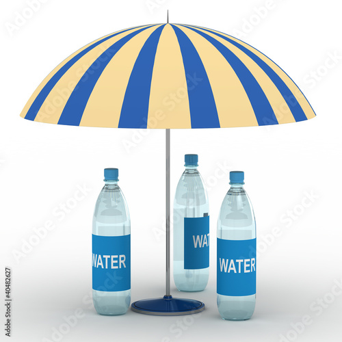 Water bottles under parasol
