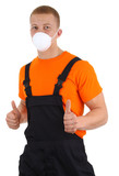 Workman with a dust mask