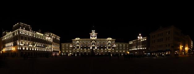 Panoramic view of Trieste by night