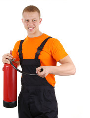 Guy with a fire extinguisher