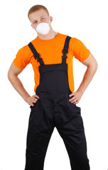 A workman with a dust mask