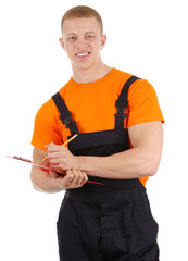 Workman with clipboard and pencil