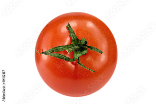 Ripe tomato on white background