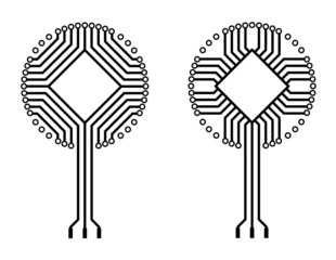 vector circuit board logo tree shapes