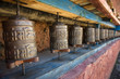 Prayer wheels in Nepal's Monastery.