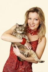 Frau mit der Katze