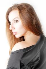 abstract scene portrait beautiful redheaded girl