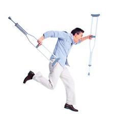 Man with crutch.