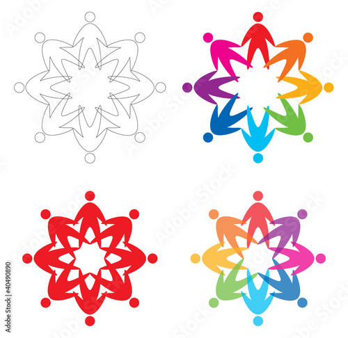 set of people  icons, abstract vector illustration
