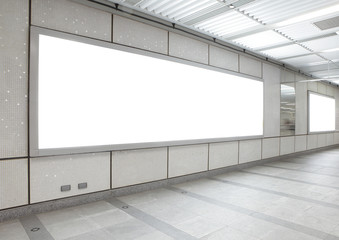 Blank billboard in the city building