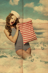 beauty pin-up woman with bag