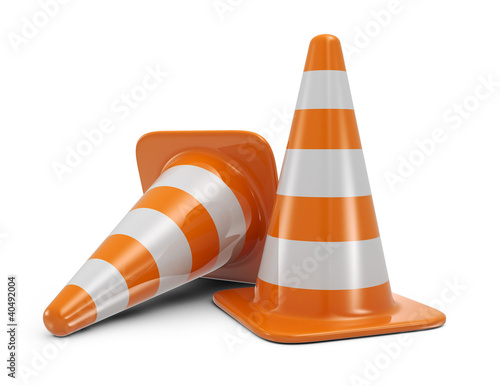 Traffic cones. Road sign. Icon isolated on white background