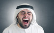 arabian buinessman shouting- clipping path included