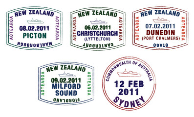 Vector stylised passport stamps from Australia and New Zealand.