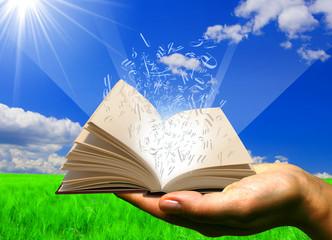 libro in una mano