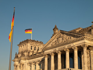 German Flag Flying over Reichstag Bundestag