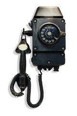 Old-fashioned black wall-mounted telephone