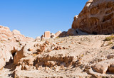 dried riverbed of Wadi Musa in Siq, Petra poster