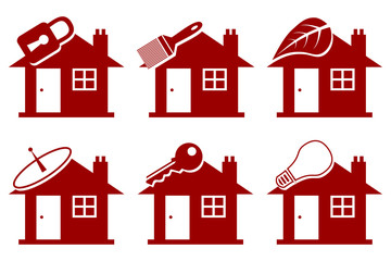 Six red vector house illustrations.