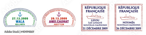 Vanuatu and New Caledonia Passport Stamps.