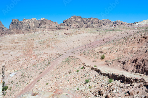 crossroads in stone waste land of Petra
