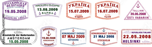 vector Northern European passport stamps.