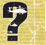 Helicopters, qestion mark, map and latin phrases