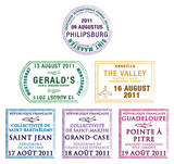 Passport stamps of the Windward Islands in the Caribbean.
