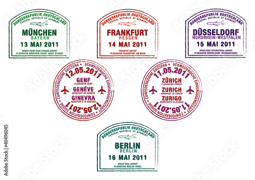 Passport stamps from Germany and Switzerland.
