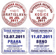 Passport stamps of Czech Republic and Slovakia.