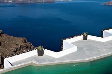 Caldera view from Imerovigli at Santorini in Greece