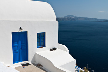 Traditional house at Oia village of Santorini in Greece