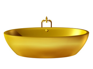golden, oval bathtub with tabware
