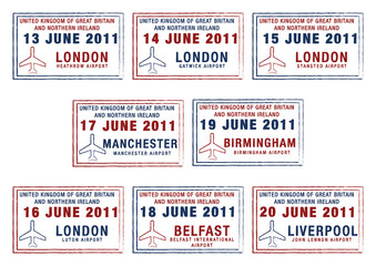 Passport stamps of the UK and Northern Ireland.