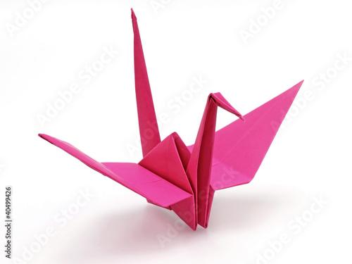 Pink origami bird - 40499426