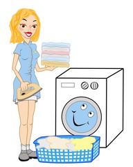 Waschfrau in Action