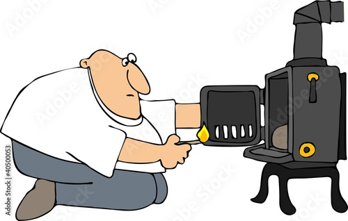 Man Lighting A Wood Stove