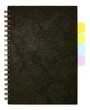 black spiral note book and post it