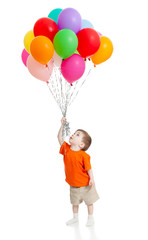 Funny baby boy  with bunch of colorful ballons in his hand. Isol