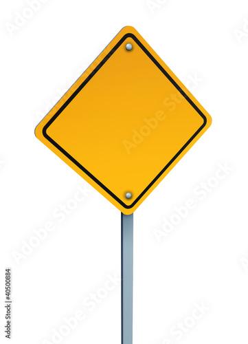 Blank Yellow Warning Sign