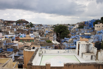 """Roofs of Jodhpur, the """"blue city"""" in Rajasthan state in India"""