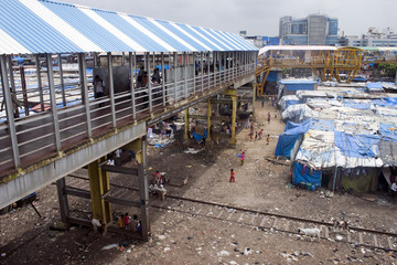 Slum near railway in Mumbai, India