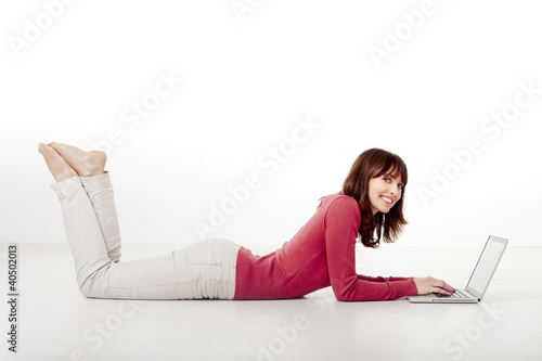 Happy woman working