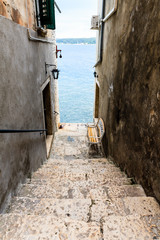 Narrow Stairway to Sea in Rovinj, Croatia