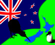 New Zealand, flag, Kiwi, map