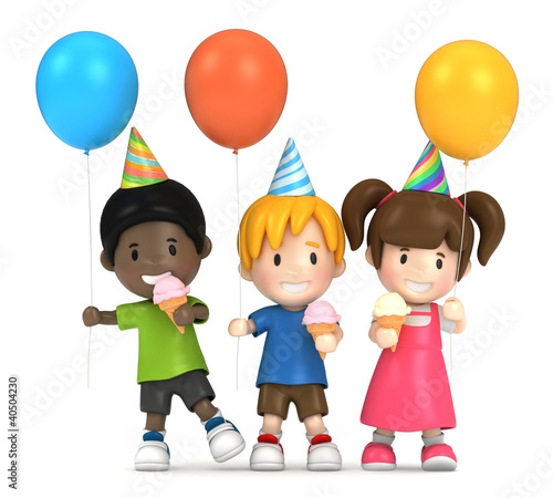3d render of kids in a party
