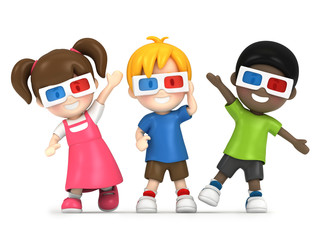 3d render of a kids wearing 3d glass