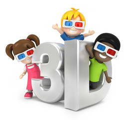 3d render of kids with 3d glass