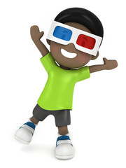 3d render of a kid with 3d glass